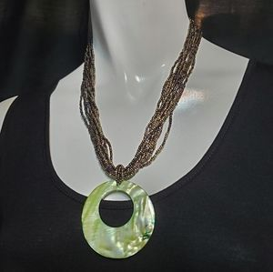 Green & Brown Multi-Strand Iridescent Necklace